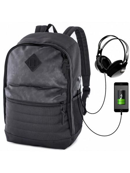 Рюкзак для подростков SkyName 80-42 черный 27х15х41