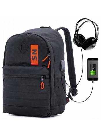 Рюкзак для подростков SkyName 80-44 черный/оранжевый 30х16х42
