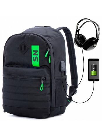 Рюкзак для подростков SkyName 80-44 черный/зеленый 30х16х42