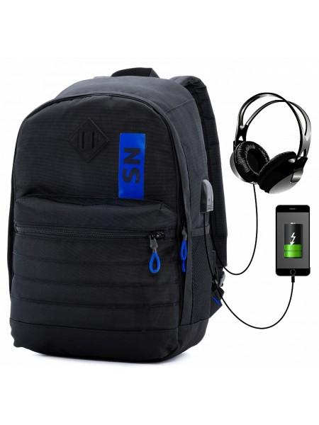 Рюкзак для подростков SkyName 80-44 черный/синий 30х16х42