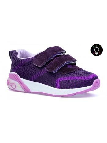 Кроссовки со светодиодами Котофей 144156-12 фиолетовый (21-24)