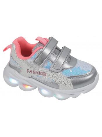 Кроссовки со светодиодами Tom&Miki B-7994-Z серебро (21-26)