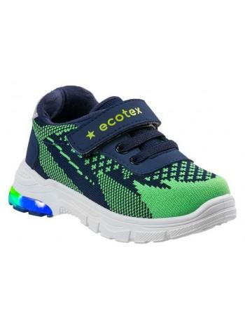Кроссовки со светодиодами ECOTEX STAR 7-082TF зеленый/синий (22-29)