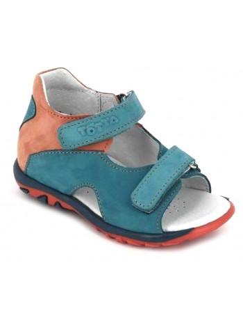 Сандалии ТОТТА, из натуральной кожи, цвет голубой оранжевый, оптом без размерных рядов, по низкой цене, 0312-КП, размеры с 23 по 25
