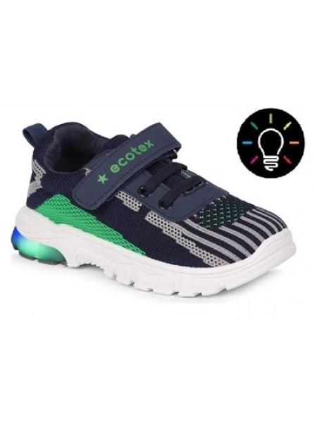 Кроссовки ECOTEX STAR со светодиодами 7-069TF синий/зеленый (22-29)