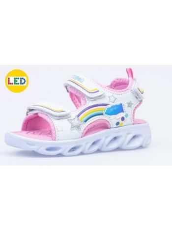 Сандалии со светодиодами Котофей 323071-11 белый/розовый (25-29)