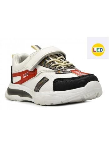 Кроссовки со светодиодами Тотошка B934-AT белый (27-32)
