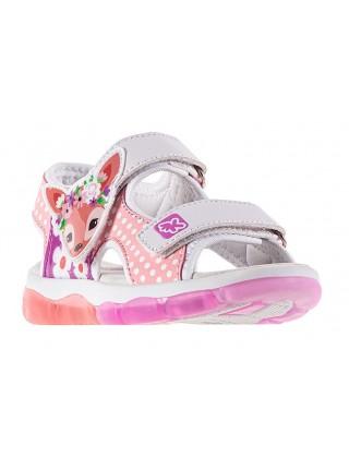 Туфли открытые со светодиодами KAKADU 8942A розовый (24-29)