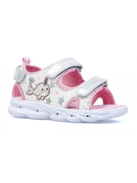Туфли открытые со светодиодами Котофей 324047-12 белый/розовый (25-29)