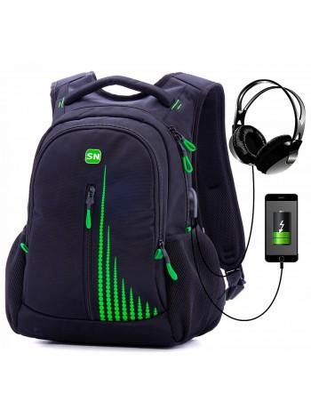 Рюкзак SkyName 90-111 черный/зеленый 30Х16Х42