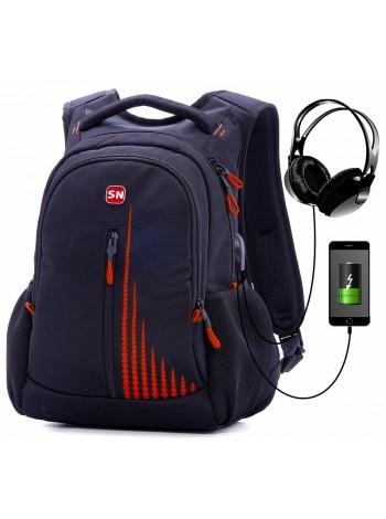Рюкзак SkyName 90-111 черный/оранжевый 30Х16Х42
