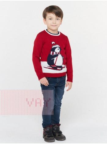 Джемпер детский 202-6224 красный/молоко/т.синий/молоко (92-122)