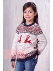 Джемпер для девочек 10004 т.синий/красный/молоко (30-38)