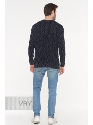 Джемпер мужской 192-12184 черно-серый/серо-джинсовый/т.синий/белый (46-50)