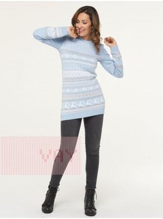 Туника женская 202-41073 голубой/белый/латте (42-52)