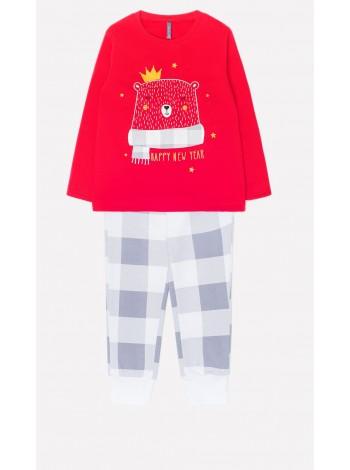 Пижама Crockid К 1549 красный клетка на белом (92-134)